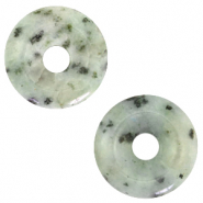 Anhänger Naturstein Disc Grayed jade green