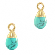 Anhänger Naturstein Drop Marble turquoise-gold