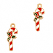 Anhänger Metall Basic Quality Candy Cane Gold-rot