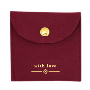 "Schmuck Beutel ""with love"" Bordeaux red-gold"