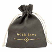 "Schmuck Beutel ""with love"" Anthracite-gold"