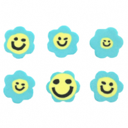 Perlen Polymer Blume Smiley Blue