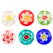 Millefiori-Glasperlen Disc Flower 6mm Multicolour