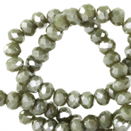 Facetten Top Glas Perlen 6x4 mm Rondellen Greenish grey-pearl shine coating