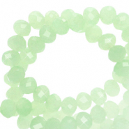 Facetten Top Glas Perlen 6x4 mm Rondellen Crysolite green-pearl shine coating