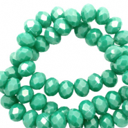 Facetten Top Glas Perlen 6x4 mm Rondellen Malachite green-pearl shine coating