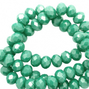 Facetten Top Glas Perlen 4x3 mm Rondellen Malachite green-pearl shine coating