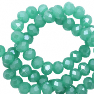 Facetten Top Glas Perlen 3x2 mm Rondellen Light malachite green-pearl shine coating