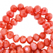 Facetten Top Glas Perlen 4x3 mm Rondellen Fiery orange-pearl shine coating
