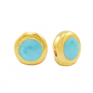 Perle Metall DQ Pearl turquoise blue-gold (Nickelfrei)