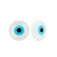 Perle Muschel Disc Evil Eye White