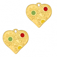 Anhänger Metall DQ Heart with Flowers Gold-multicolour (Nickelfrei)