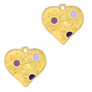 Anhänger Metall DQ Heart with Flowers Gold-purple (Nickelfrei)