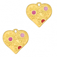 Anhänger Metall DQ Heart with Flowers Gold-pink (Nickelfrei)