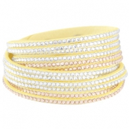 Wildleder Imitat Armband mit Strass Steinen Lemon yellow