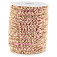 Wire Fashion 5 mm flach Hell fuchsia-gold
