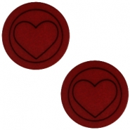 Polaris cabochon Herz flach matt 12mm Port red
