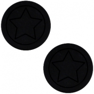 Polaris cabochon Stern flach matt 12mm Black