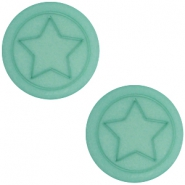 Polaris cabochon Stern flach matt 12mm Aqua blue foam