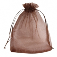 Organza Schmuck Beutel 12x15 cm Dark brown