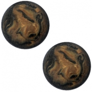 Polaris Cabochon Perseo matt 12 mm Schwarz smoke topaz