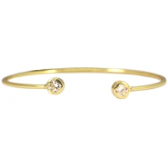 Metall Armband Diamant Blume Gold