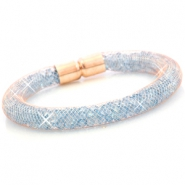 Kristall Facett Armband Rose gold - aqua blue