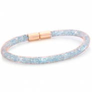 Kristall Facett Armband single Rose gold - light sapphire