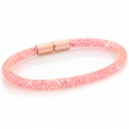 Kristall Facett Armband single Gold - light pink