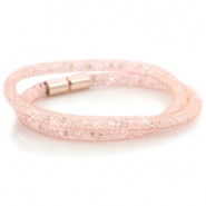 Kristall Facett Armband doppel Light rose gold - crystal