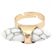 Trendy Ring Howlith Stein Look Gold