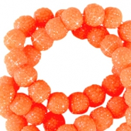 Sparkle beads 6mm Neon orange