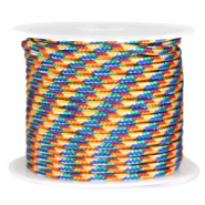 Trendy kordel rund surfkordel 3mm Blue yellow red