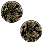 12mm flach Polaris Elements Stardust Cabochon Jet black