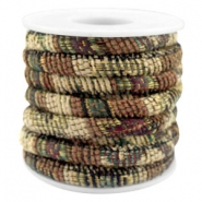 Trendy Kordel 6x4mm gesteppt Multicolor beige-brown-green