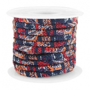 Trendy Kordel 4x3mm gesteppt Multicolor dark blue-red-orange