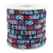 Trendy Kordel 6x4mm gesteppt Multicolor dark blue-red