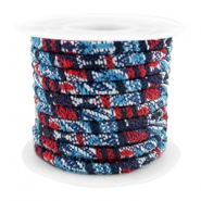 Trendy Kordel 4x3mm gesteppt Multicolor dark blue-red