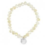 Facetten Glas Armband Sisa 8x6mm (RVS Anhänger) White alabaster-light gold diamond coating