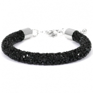 Armband Crystal diamond 8mm Jet black