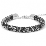 Armband Crystal diamond 8mm Jet black-labrador silver