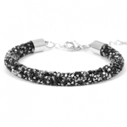 Armband Crystal diamond 7mm Jet black-labrador silver