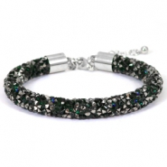 Armband Crystal diamond 8mm Deep emerald green-anthracite