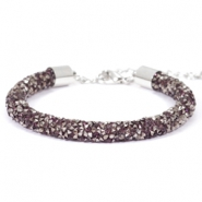 Armband Crystal diamond 7mm Amethyst-anthracite