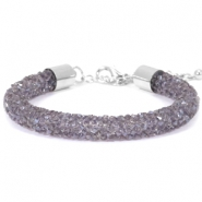 Armband Crystal diamond 8mm Purple velvet