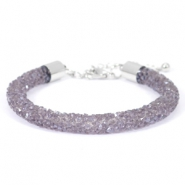 Armband Crystal diamond 7mm Purple velvet