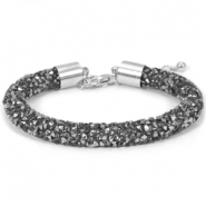Armband Crystal diamond 8mm Black diamond-anthracite