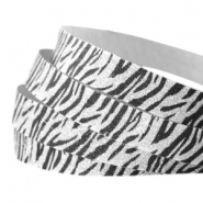 Tape aus Crystal Glitzer animal print 5mm Silver-black