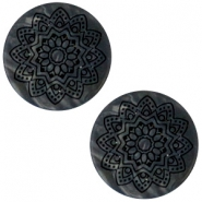12mm flach Polaris Elements Cabochon Mandala Print matt Black anthracite