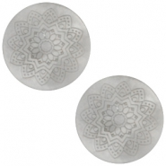 12mm flach Polaris Elements Cabochon Mandala Print matt Ice grey